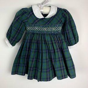 Friedknit Creations Green Plaid Smocked Dress VTG